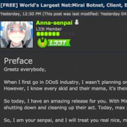Un hacker utilisant le pseudo Anna-senpai a délivré le code source du botnet Mirai sur un forum spécialisé. (crédit : D.R.)