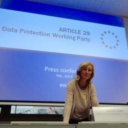 Isabelle Falque-Pierrotin, présidente du groupe Article 29, lors d'une conférence de presse à Bruxelles, le 3 février 2016.